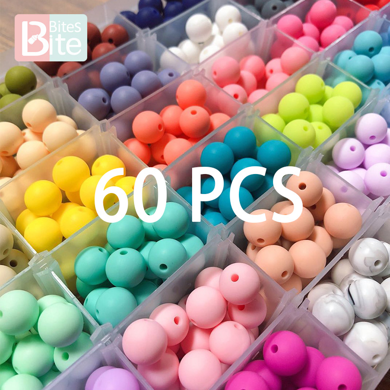 Baby Bracelet Necklace-Accessories Pacifier-Chain Bead Bpa-Free 12mm DIY 60PCS Silicone