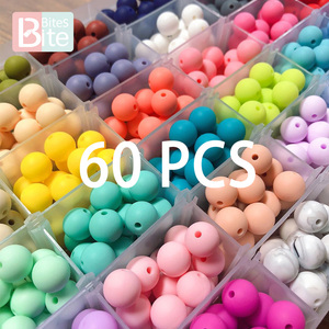 60PCS Baby Teether Silicone Beads 12mm DIY Pacifier Chain Bracelet BPA Free Silicone Bead Baby Teething Necklace Accessories Toy