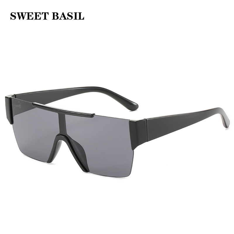 SWEET BASIL Oversized Frame Sunglasses Men Women Luxury One Lens Goggles Big Sun Glasses Rimless Eyewear UV400 Gafas De. Sol