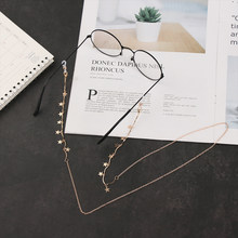 1PC Charm Moon Star Eyeglass Chain Fashion Golden Pendant Eyewears Cord Holder Elegant Sweet Alloy Eyeglass Lanyard(China)