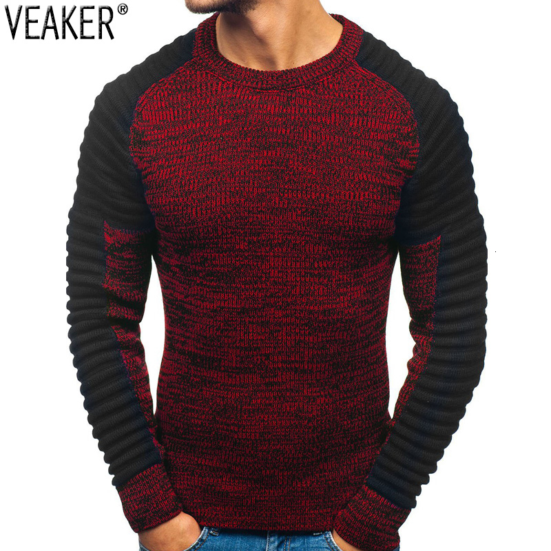 2019 New Men's Slim Fit Pleated Sweater Pullovers Male Patchwork O-Neck Sweater Knitted Pullover Tops M-2XL