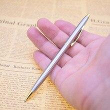1PC Metal Ballpoint Pen Stainless Steel Rod Rotating Ballpen Black Ink