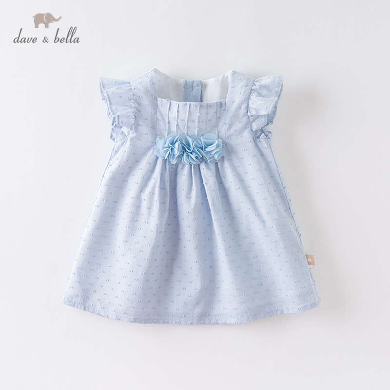 DBS12672 Dave Bella Summer Baby Girl's Cute Floral Appliques Dress Children Fashion Party Dress Kids Infant Lolita Clothes