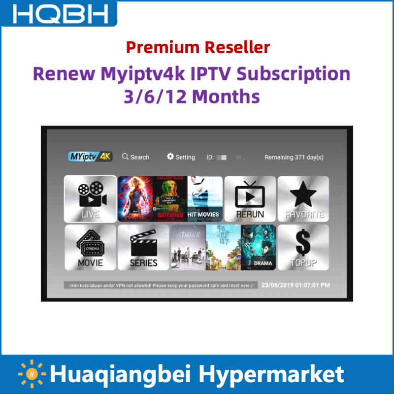 Renouveler Myiptv4k Myiptv IPTV abonnement annuel pour singapour malaisie australie indonésie