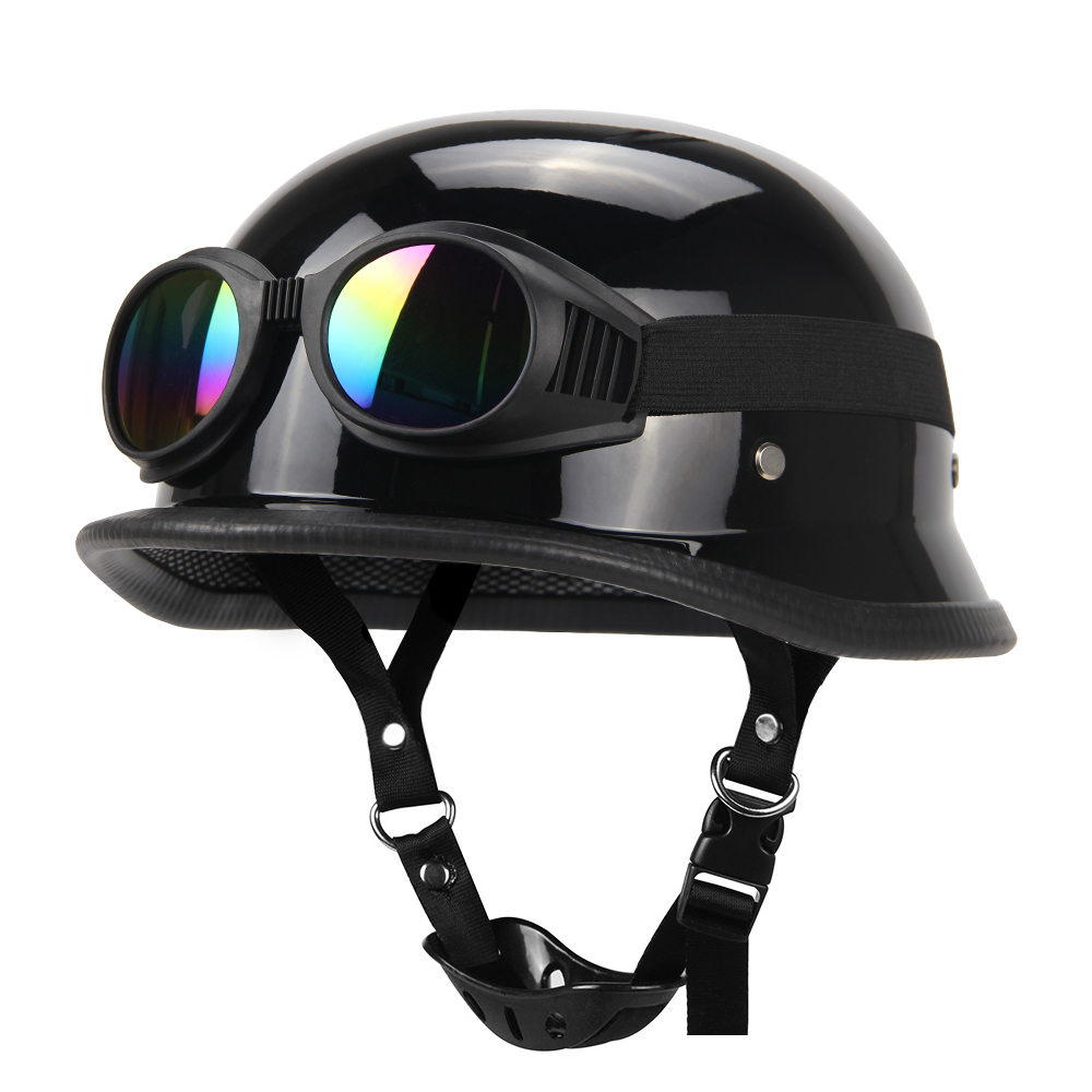 Мотоциклетный шлем немецкая Кожа винтажный Casco мото мотоциклетный открытый шлем ретро Половина шлем Чоппер Байкер пилот точка Размер S-XXL