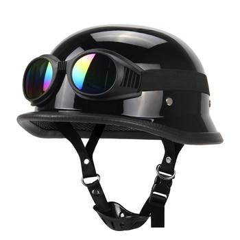 Motorcycle Helmet German Leather Vintage Casco Moto Motorcycle Open Face Retro Half Helmet Chopper Biker Pilot DOT Size S-XXL цена 2017