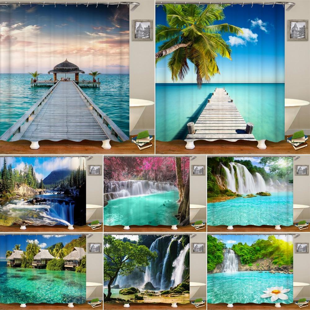 Mar playa paisaje impresión Cortina de ducha impermeable 3D cascada paisaje baño cortina con 12 ganchos para decorar el hogar Mosaico azul de diamantes, azulejos de cocina, Adhesivo de pared, resistente al aceite impermeable, papel de pared de baño autoadhesivo, decoración del hogar, 60*200cm