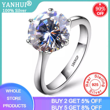 With Certificate Original 18K White Gold Ring Luxury Solitaire 2.0ct Zirconia Diamond Silver Wedding Band Women Christmas Gift