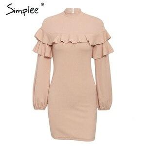 Image 5 - Simplee Elegant Ruffle women dress Turtleneck lantern sleeve female slim party dress Casual ladies work wear autumn winter dress