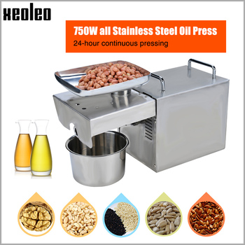 Xeoleo Oil press machine Oil presser Olive Oil machine Stainless steel Cold&Hot 750W suitable for almond/Peanut Household xeoleo cold