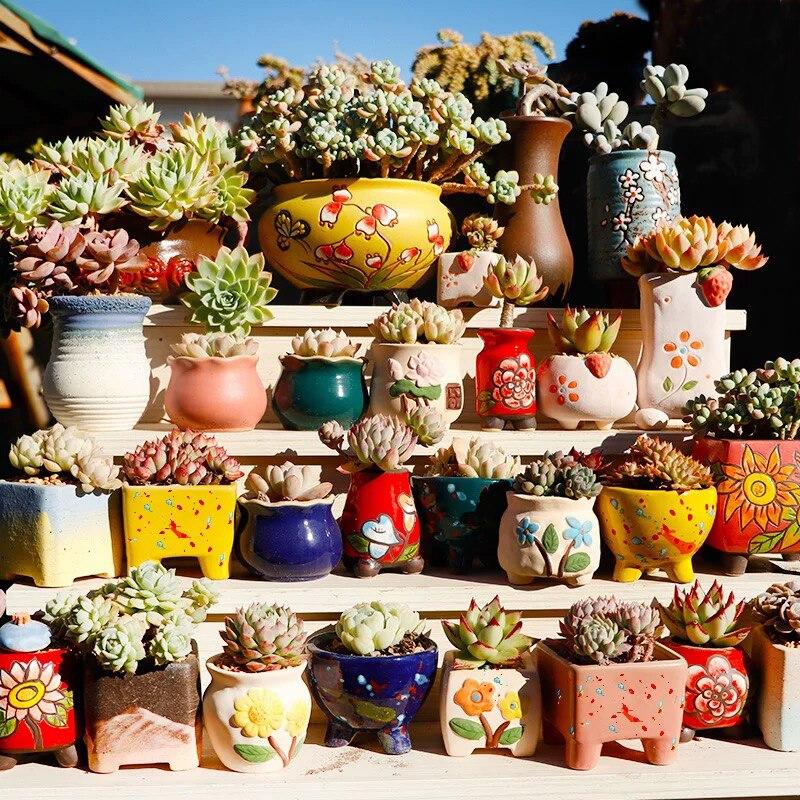 Ceramic Flower Pot Succulent Pots Cactus Pots Planter Garden Pots Ceramic Pot Outdoor Garden Home Decoration Windowsill Flower Pots Planters Aliexpress