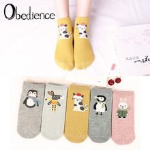 2019 New Arrivl Women Cotton Socks Pink Yellow Cats Penguin Cute Ankle Socks Short Casual Animal Ear Gril Sox