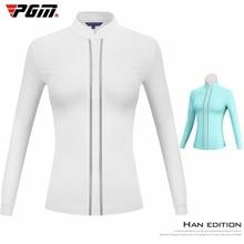 PGM golf tshirts apparel ladies long sleeve T-shirt autumn and winter warm stand collar slim sportswear Golf Shirt New
