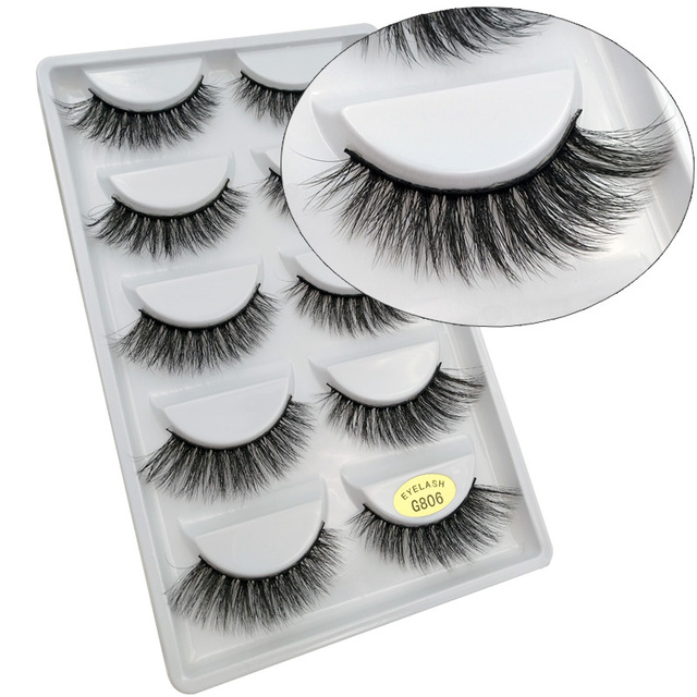 YSDO Lashes 1 box mink eyelashes natural long 3d mink lashes hand made false lashes plastic cotton stalk makeup false eyelash G8 3