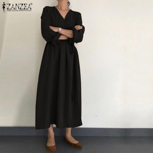 2021 Autumn Solid Sundress ZANZEA Casual V Neck Cotton Linen Dress Women Long Sleeve Maxi Long Vestido Female Kaftan Robe Belted 3