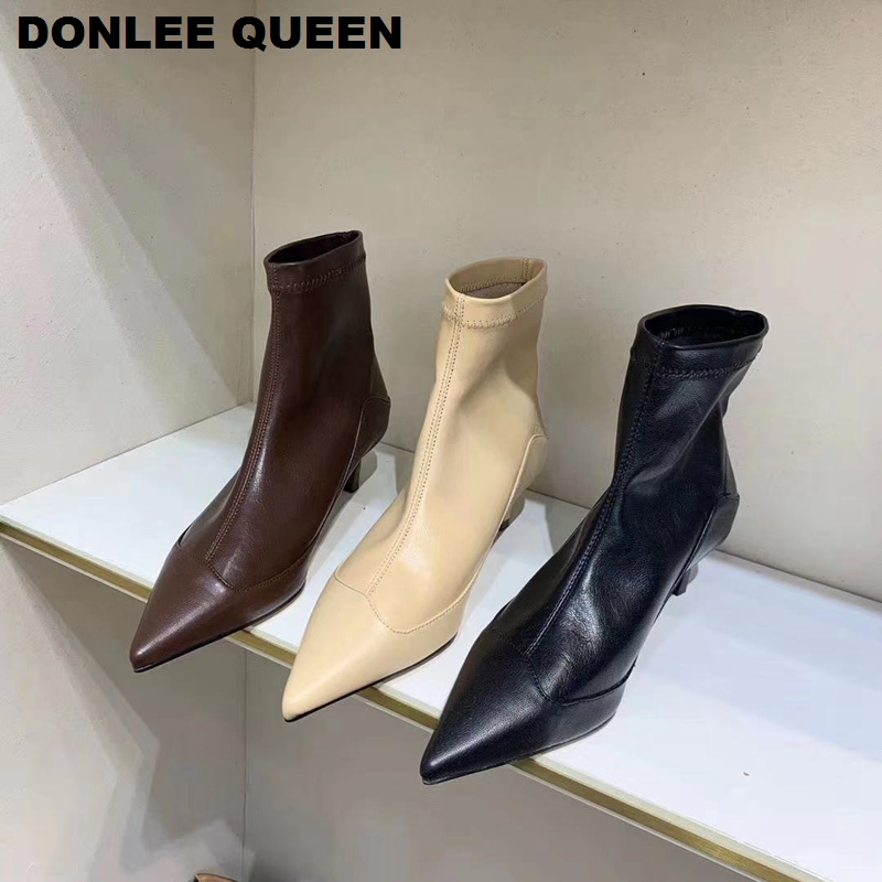 Stretch Boots Women Low Heel Pointy Shoes Women Boots Fashion Brand Boots Pointed Toe Thin Heel Party Shoes Kitten Heels Short Boots European Chelsea Design Ankle Boots 2020 Autumn Winter Brand Boots Black Zapatos Muje
