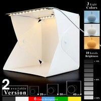 Mini caja de luz LED plegable para estudio fotográfico, Kit de fondo para cámara DSLR, 2 paneles, USB, 20/30/40cm