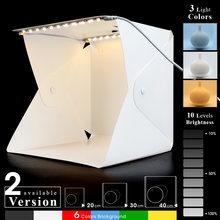 Boîte à lumière pliable Portable 20cm 30cm 40cm, Studio de photographie, Kit de fond LED, Mini boîte à lumière USB pour appareil Photo DSLR