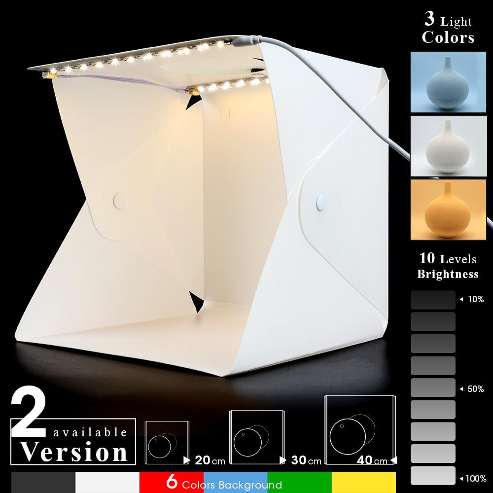 Lightbox pliant 20cm 30cm 40cm Portable photographie Photo Studio LED Softbox Kit de fond USB Mini boîte lumineuse pour appareil Photo reflex numérique
