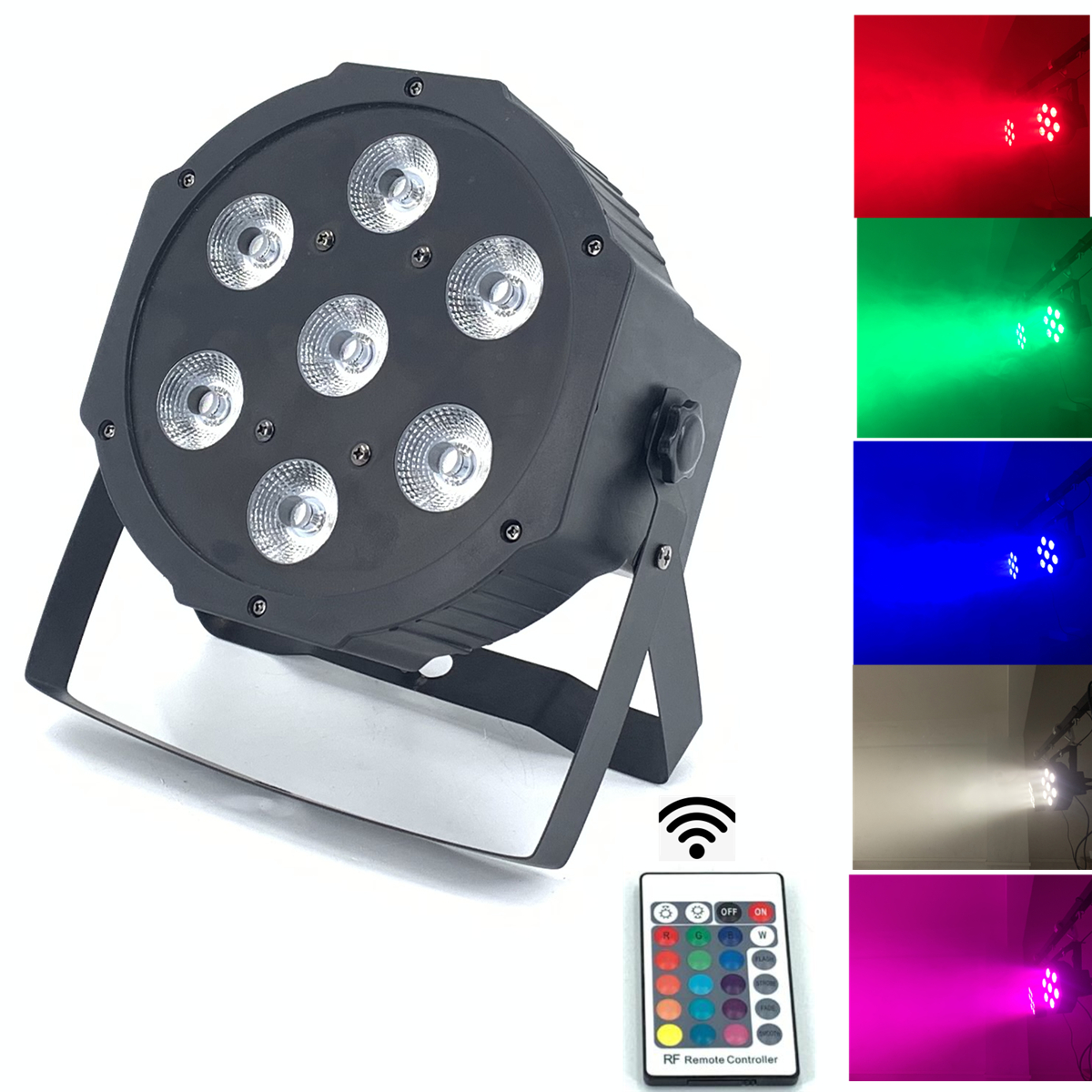 2pcs/lot Wireless Remote Control 7X12W 4IN1 RGBW MINI LED Flat Par Wash Light For Event,Disco Party