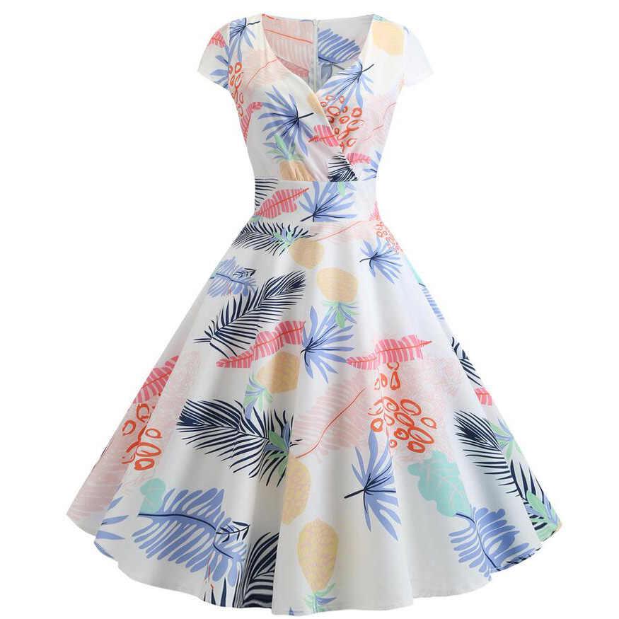 2020 dekolt w serek duża huśtawka Vintage sukienka świąteczna kobiety lato 50s eleganckie sukienki na co dzień z krótkim rękawem kwiatowy Plus rozmiar sukni