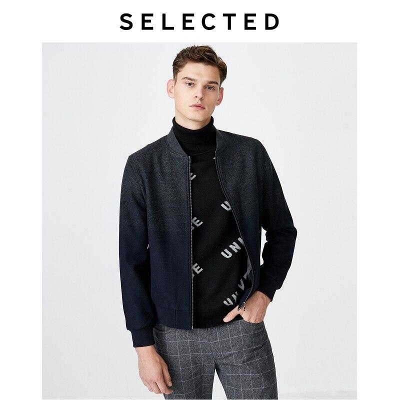 SELECTED Gradient Woolen Baseball Collar Jacket Men Short Wool Coat S|419427528