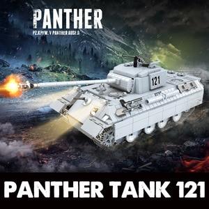 Image 2 - 990 個軍事パンサータンク 121 のためのビルディングブロックテクニック市WW2 タンク兵士の武器軍 100064 レンガの子供のおもちゃ