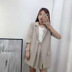 Шикарный женский комплект из 2 предметов, Корейская одежда, юбка из двух частей, комплекты, плиссированные короткие комплекты для женщин, 2
