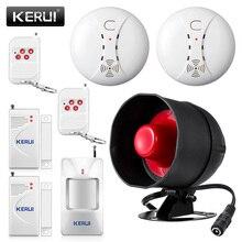 KERUI Беспроводная дешевая охранная домашняя система охранной сигнализации 110дб сирена динамик Дистанционное движение окна двери пожарный детектор дыма DIYKit