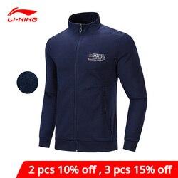 Li-Ning Männer Training Stricken Top WARM Fleece Regelmäßige Fit 64% Polyester 36% Baumwolle Futter li ning Sport mantel AWDP677 MWW1624
