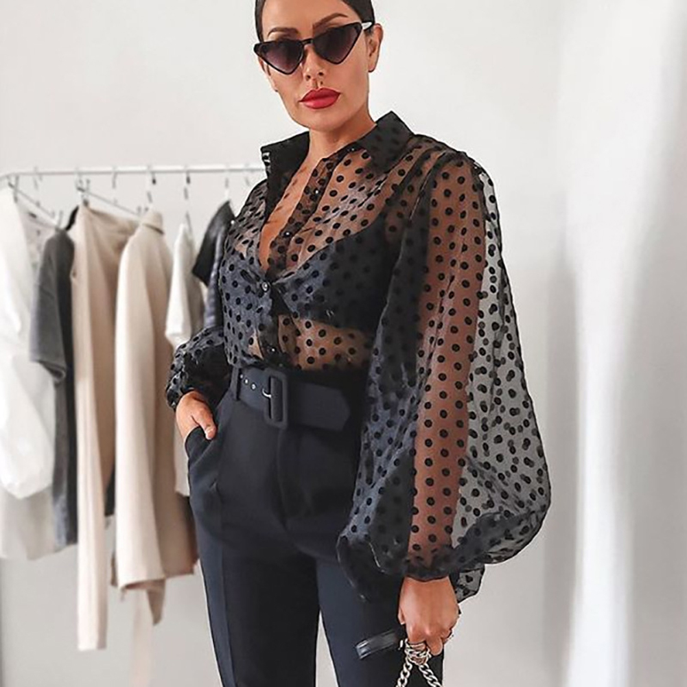 Womens Polka Dot Blouse Mesh Sheer Shirt Puff Long Sleeve Blouse See-through Transparent Fashion Plus Size Female Casual Top