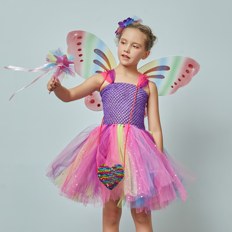 Girls Butterfly Fairy Fancy Tutu Dress Wings Costume Kids Princess Birthday Party Dress Halloween Cosplay Kids Spring Tulle Dress (4)