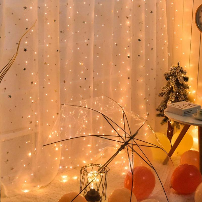 Party Surprise Decoration Warm Light Festival Warm USB Remote Control Eight Function 3*3 Copper Curtain Light