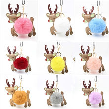 Pompom Unicorn Keychain Rabbit Fur Key Chains porte clef Bag Car Keyring llavero mujer chaveiros For Women girls Christmas gift(China)