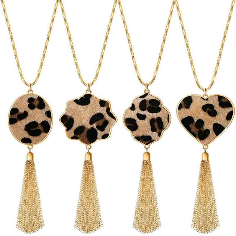 New Long Necklaces for Women Leopard Print Tassel Necklaces Gold Chain Pendant Necklace