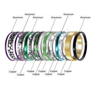 Image 3 - Floya Zwarte Ring Rvs Vintage Verwisselbare Ringen Set Vrouwen Stapelbaar Band Ring Luxe Pakket Anillos Mujer