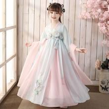 Disfraz chino de Hanfu antiguo para niñas, disfraz Oriental para niños, Vestido tradicional chino, fairyes, ropa de actuación de la diosa Tang, 2021
