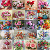 HUACAN Paint By Number Flower Drawing On Canvas HandPainted Painting Art Gift DIY Pictures By Number Kits Home Decoration