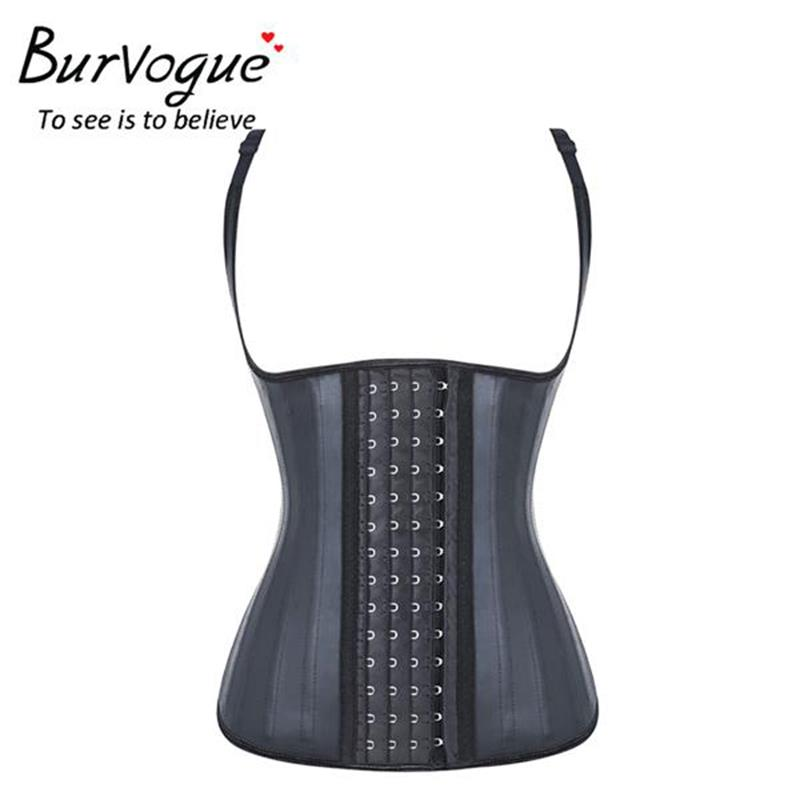Burvogue Latex Waist Corset Women 25 Steel Boned Waist Cincher Corset Modeling Strap Waist Trainer Bustiers & Corsets Plus Size