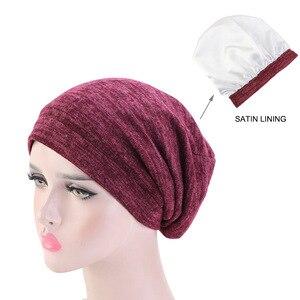 Image 2 - Neue Baumwolle Stretch Muslimischen Turban Beanie Motorhaube Indien Hut Satin Seide Gefüttert Schlaf Kappe Krebs Chemo Kappe Haar Zubehör