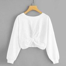 lady sweatshirt crop hoodies cross knot streetwear O—neck Pure Color Hatless Long Sleeves Jumper Tops pullovers Casual