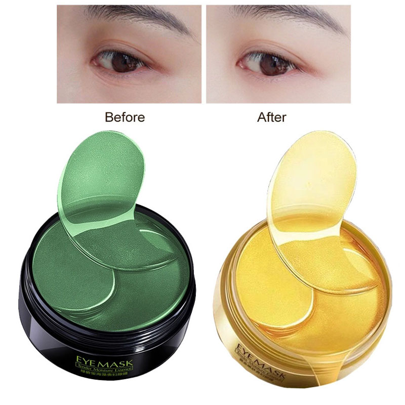 60pcs Gold/Seaweed Collagen Eye Mask Face Anti Wrinkle Gel Gold Mask Eye Patches Collagen Moisturizing Eye Patches Eye Care