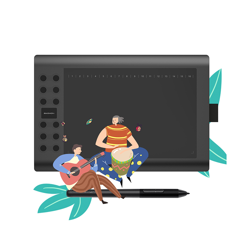 GAOMON M106K PRO Graphics Tablet--10 Inches with 8192 Levels Passive Pen and 12 shortcut keys, Support with Windows/Mac/Android