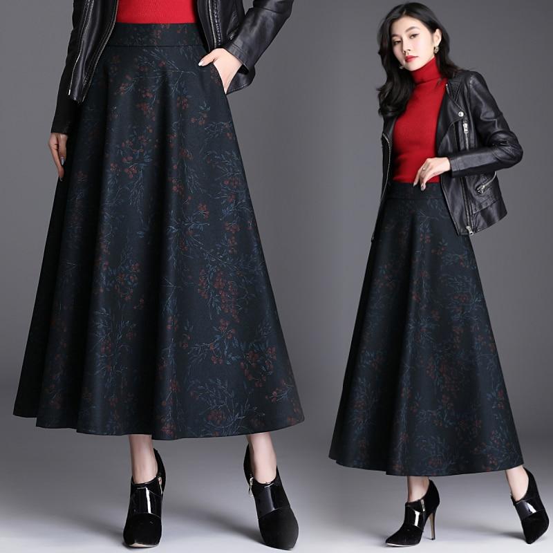A-Line Skirt Women Elegant Flower Elastic High Waist Long Maxi Skirt Cashmere Autumn Winter Warm Umbrella Skirt Female Plus Size