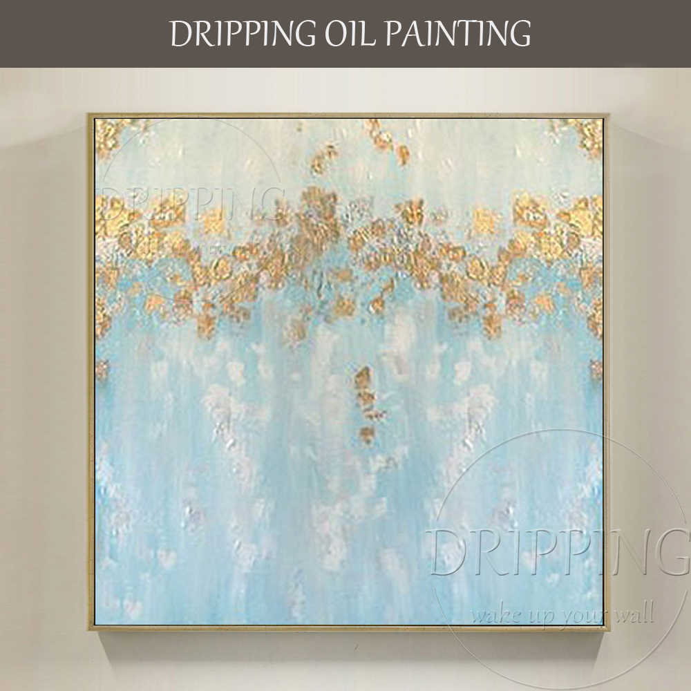 Beautiful Wall Art Hand-painted Abstract Aqua Blue Oil Painting on Canvas Gold Foil and Golden Color Paint Abstract Oil Painting