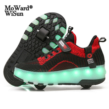Size 28-40 Children Shoes with Roller Luminous LED Sneakers