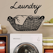 Creative Laundry Wall Sticker vinyl Removable Wallpaper For Home Decoration laundry room wall decor JH269