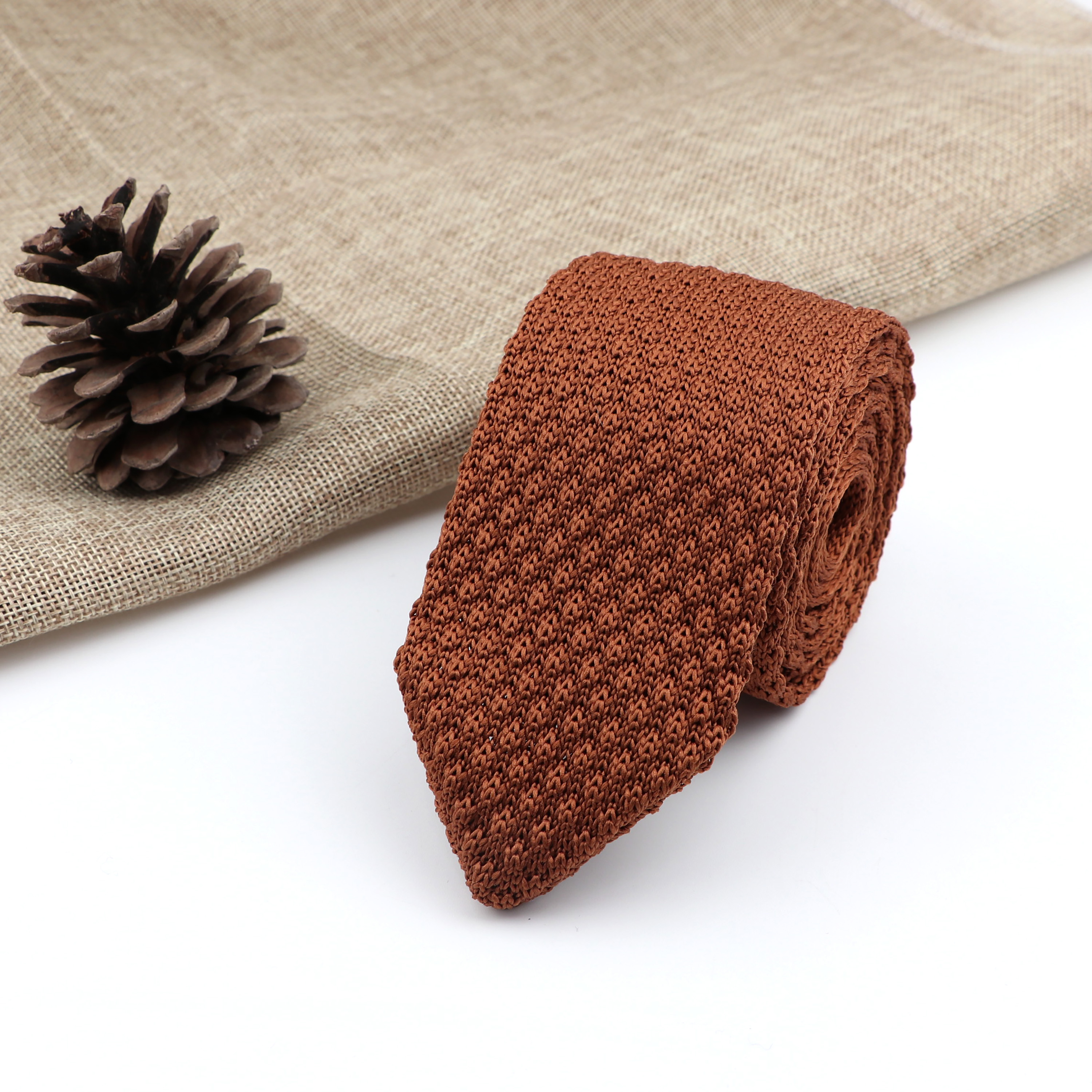 Men's Knitted Knit Solid Colorful Slim Tie New Style Fashion Leisure Classic Necktie Normal Woven Cravate Narrow Neckties