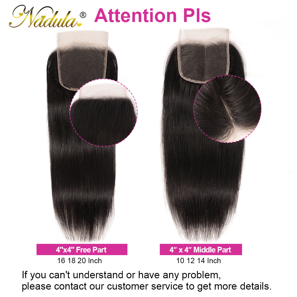 Nadula Hair 3 Bundles  Straight Hair With Closure 4*4 Lace Closure With  s Straight Bundles With Closure 5