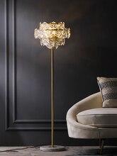 נורדי יוקרה LED רצפת מנורות נחושת קריסטל סלון בית תאורת חדר שינה וילה שיש אנכי אורות